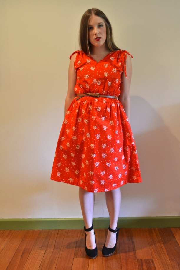 Red and White Rose Dress $50.00AUD